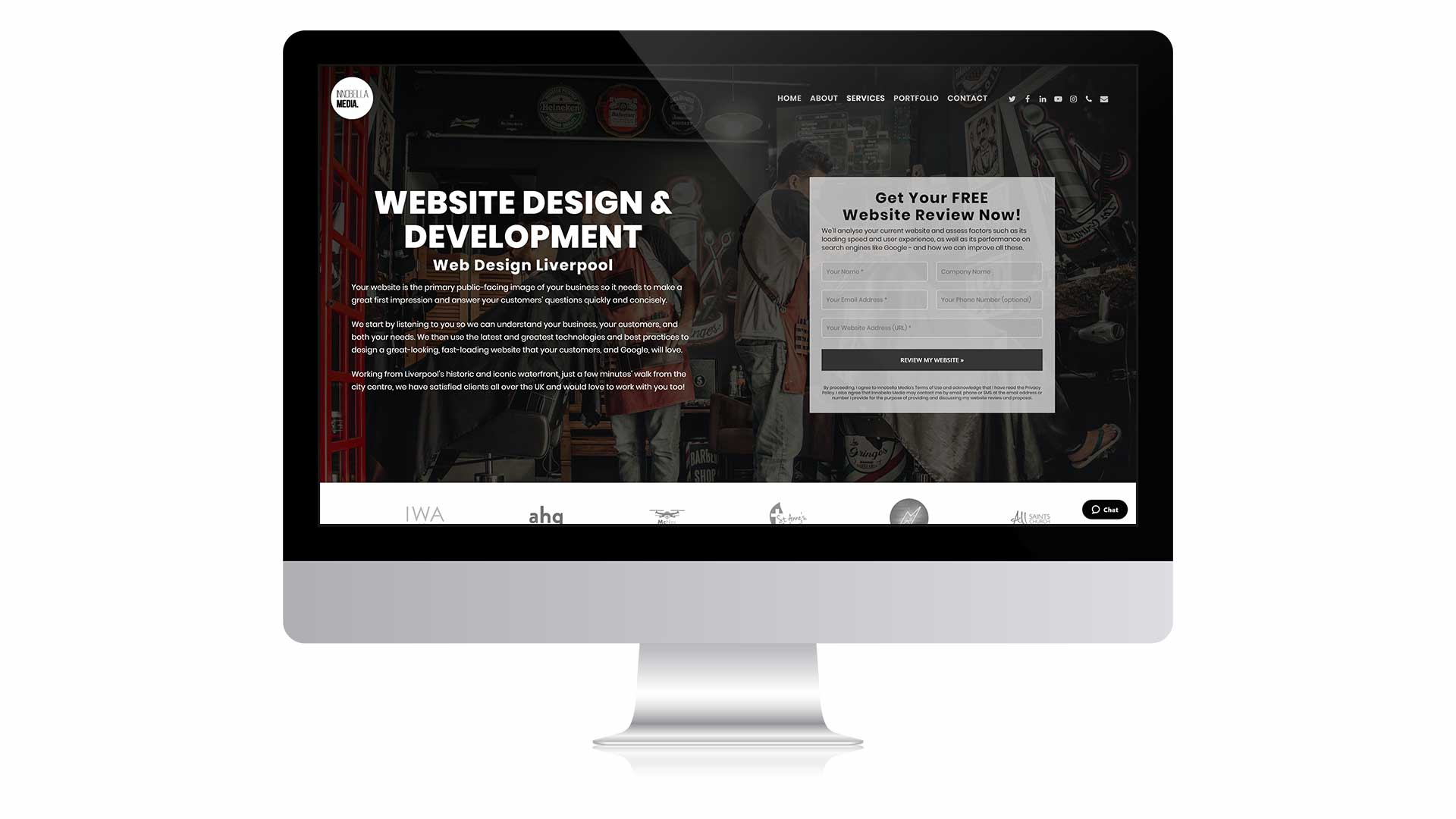 Web Design page on monitor